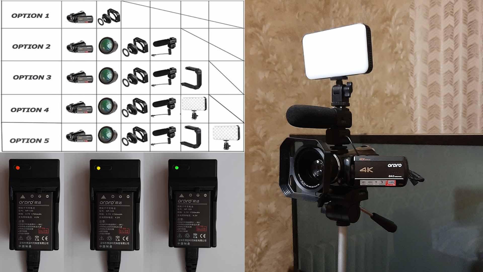 Комплектация видеокамеры